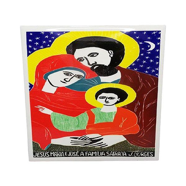 """Azulejo """"Jesus Maria e José, A Sagrada Família"""" M - J.Borges - PE"""