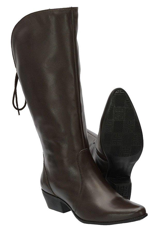 2cb33ad5c18 Bota Montaria Feminina Cherokee Boots Cano Alto de Amarrar 2722 Couro Café
