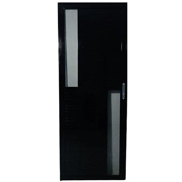 Porta Maxwell 2.0 Preta 2,10x0,80 abertura esquerda - vidro fumê