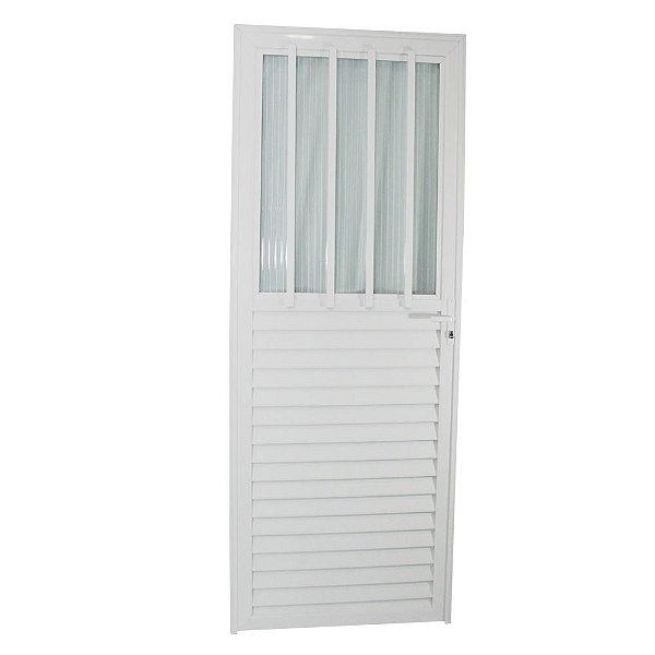Porta Carioca Branca 210x80 Esquerda, Vidro Fumê