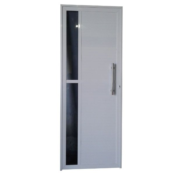 Porta Charme Branca 210x80 Abertura Direita, Vidro Incolor