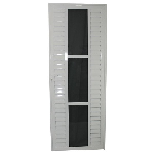 Porta Elegance Branca 210x80 Abertura Esquerda, Vidro Fumê