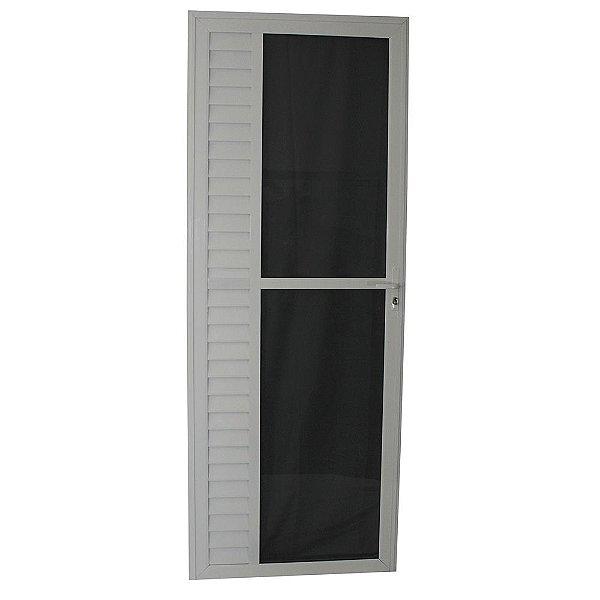 Porta Luxo Branca 210x80 Abertura Direita, Vidro Fumê