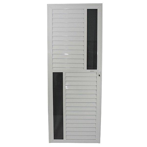 Porta Maxwell Branca 210x80 Abertura Direita, Vidro Fumê