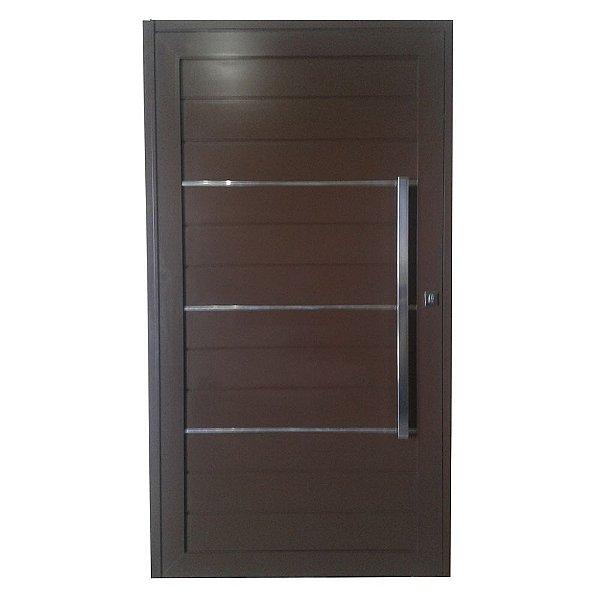 Porta Pivotante de Alumínio Marrom 220x140 Abertura Direita