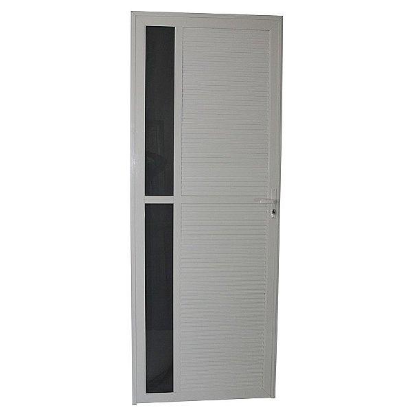 Porta Requinte Branca 210x80 Abe Esquerda, Vidro Incolor