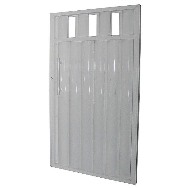 Portão Búzios com Grade Branco 180x80 Abertura Direita
