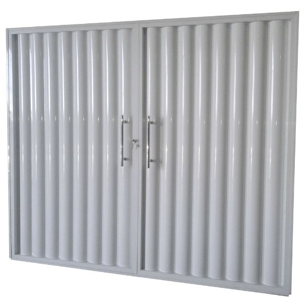 Portão de Garagem Búzios Branco 200x240 Abertura Centro