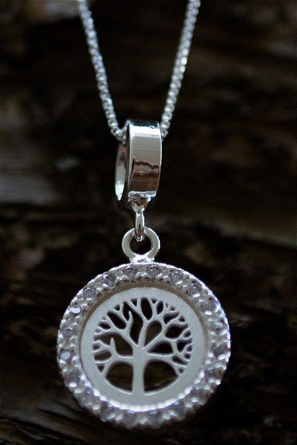 Colar árvore da vida zircônias em prata 925