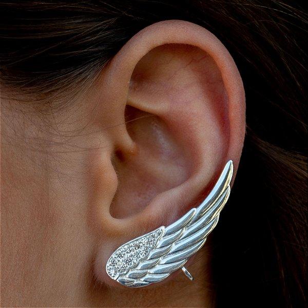 Ear Cuff Asa em prata 925 e zircônias brancas (unidade)