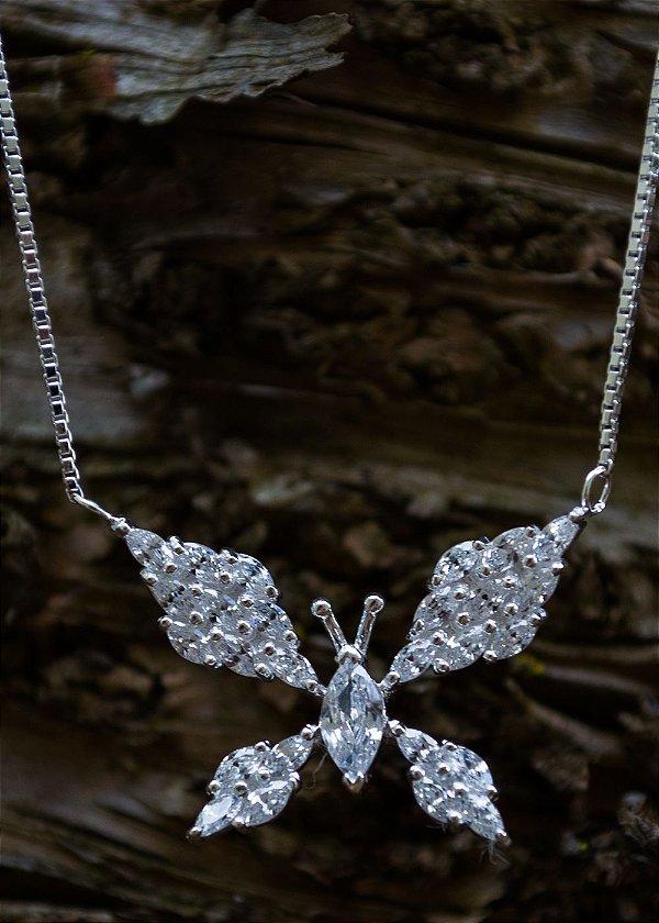 Colar borboleta de luz e zircônias em prata 925