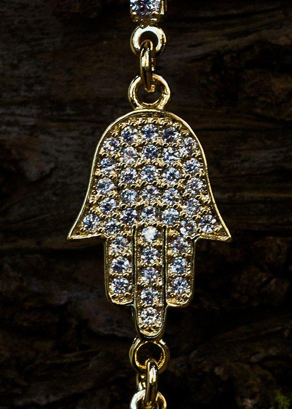 Pulseira Hamsa com zircônias banhada a ouro