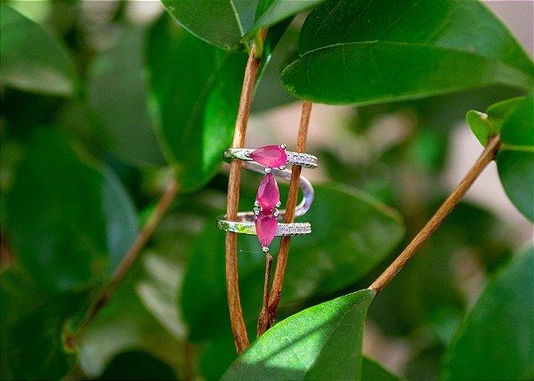 Fake piercing conch pink em prata 925