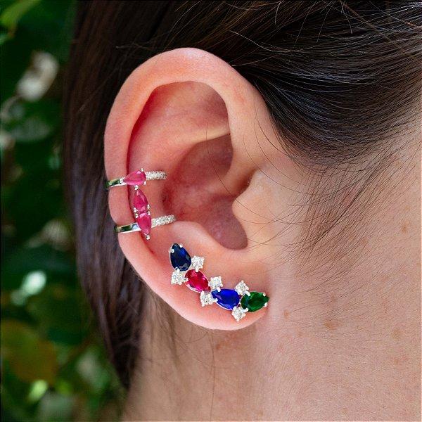 Brinco Ear Cuff zircônias coloridas em prata 925