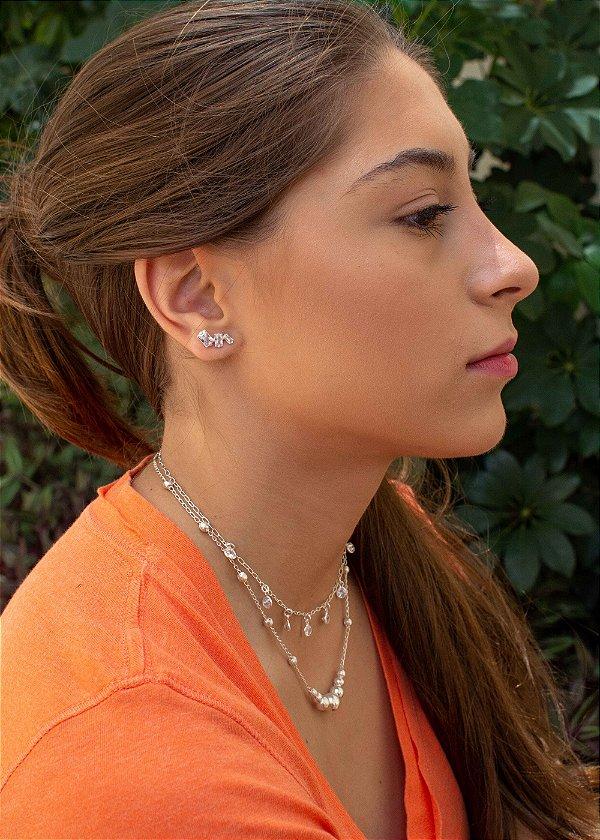 Brinco Ear Cuff zircônias brancas quadradas em prata 925