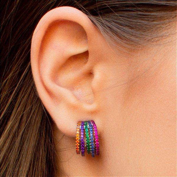 Brinco arco-íris em prata 925