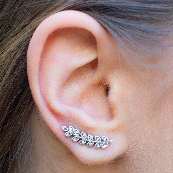 Brinco ear cuff ramo em prata 925