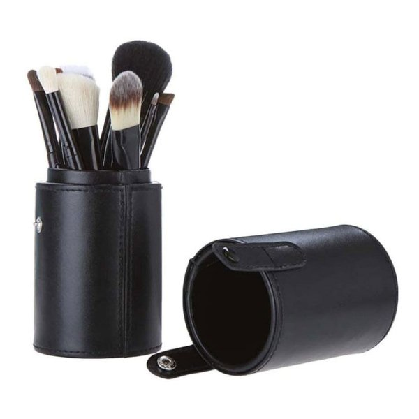 Kit 12 Pincéis Pincel Maquiagem + Case Copo Preto