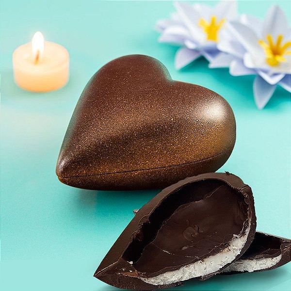 Coração de chocolate LOW CARB 220g - BLISS com recheio de coco - presente dia dos namorados