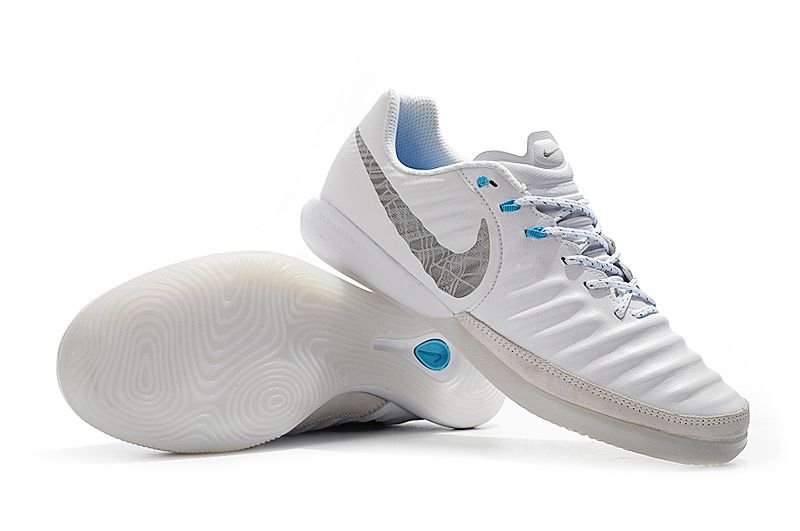 Chuteira Futsal Nike Tiempo Legend VIII Academy IC  Branca e Azul Bebê FRETE GRÁTIS