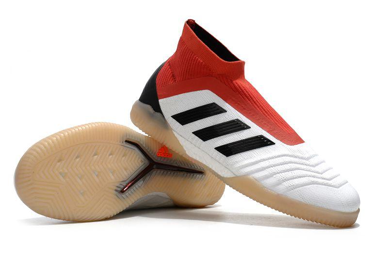 Chuteira Futsal Adidas Predator 18 Branca e Vermelha (Cano alto) FRETE GRÁTIS