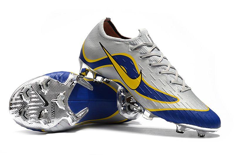 Chuteira Campo Nike Mercurial Superfly VI 360 Elite Ronaldo FG Cinza e Azul FRETE GRÁTIS