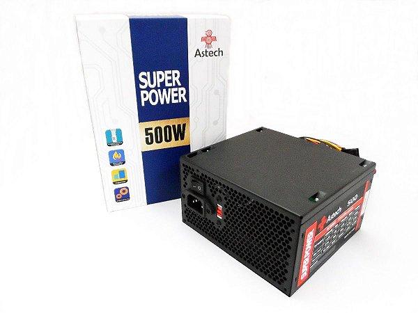 Fonte Astech Gamer ATX 500W Super Power Sata Bivolt - 24 Pinos