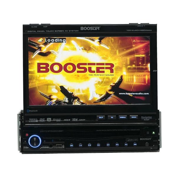 "DVD Retrátil Booster 7"" BMTV-9750DVUSBT TV Bluetooth GPS USB Frente Destacável"