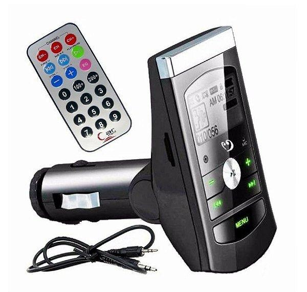 Transmissor Veicular Fm Mp3 USB Pen Drive Cartão Micro SD 12v