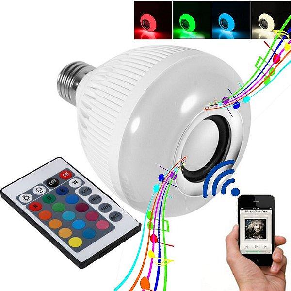 Lâmpada Musical Bluetooth Rgb Com Controle De Led Caixa De Som E27