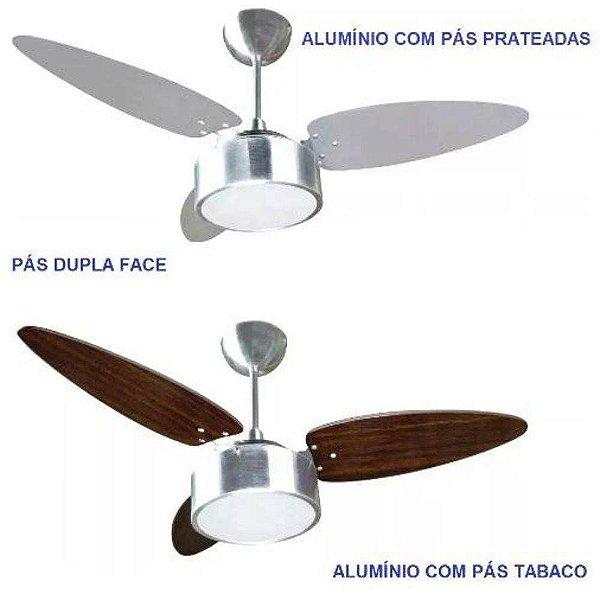 Ventilador De Teto Fharo 3 Pás Dupla Face Prata/tabaco - Ventisol
