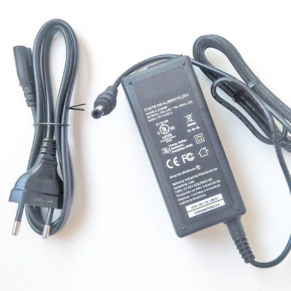 Fonte para Notebook Positivo S5010 pino 5.5mm x 2.5mm | 19V 3.42A