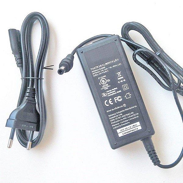 Fonte para Notebook Positivo S1990 pino 5.5mm x 2.5mm | 19V 3.42A