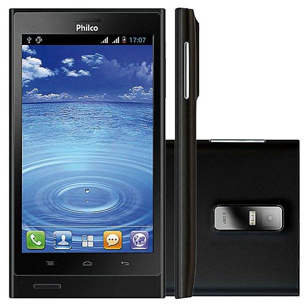 "Smartphone Philco Phone 500 2 Chips 4GB 8MP Tela 5"" Android 4.0 3G Wifi - Preto"