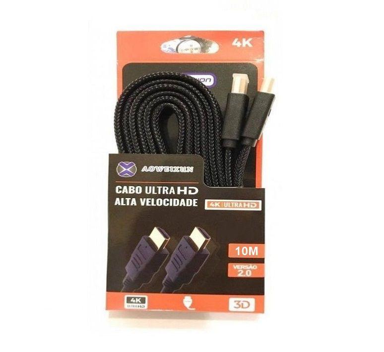Cabo HDMI Ultra HD 2.0 3D 4K Alta Velocidade AOWEIXUN - 10 Metros