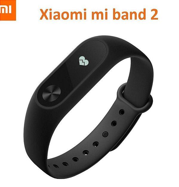 Pulseira Inteligente Xiaomi Mi Band 2 Preta - Para Android E Ios - Pulseira Silicone