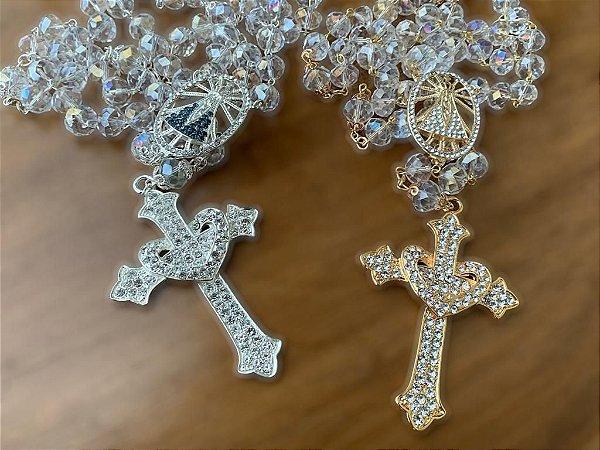Terço em cristais boreais para noiva Nossa senhora Aparecida