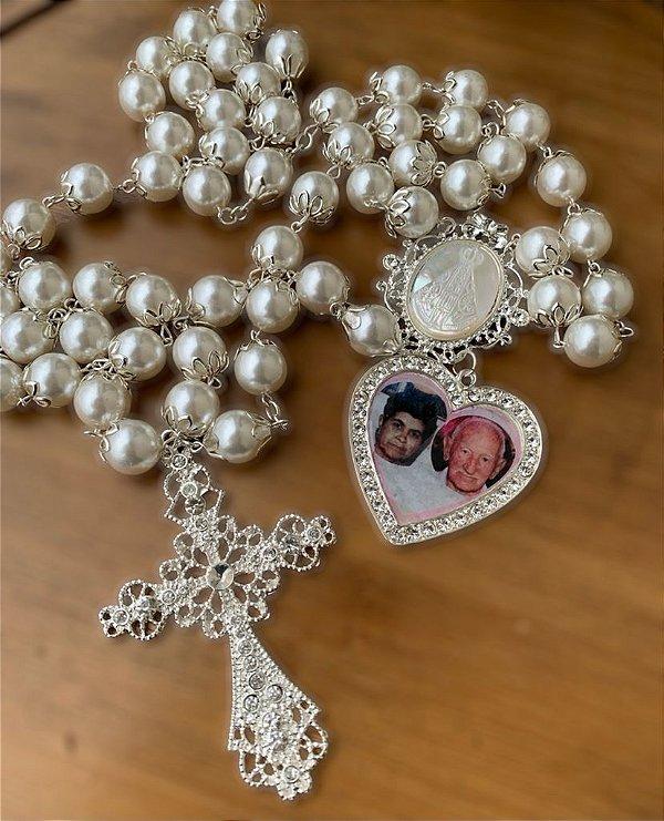 Terço personalizado uma foto Nossa Senhora Aparecida  de madrepérola