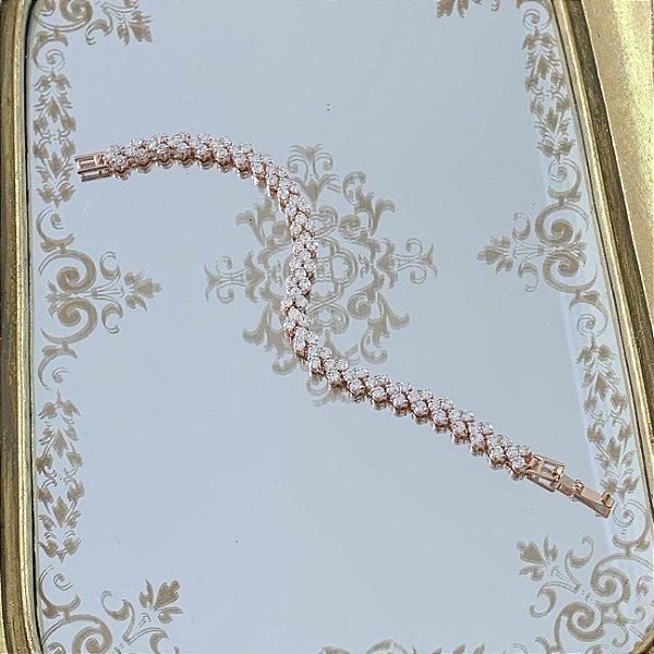 Pulseira para noiva em zirconias  banho de ouro rosé