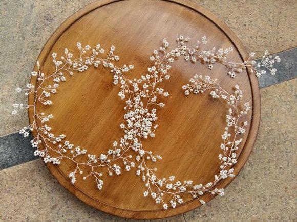 Fio para cabelo de noiva  mini pérolas mini flores