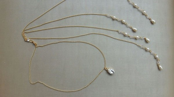 Colar invertido noiva dourado  pérolas cristais
