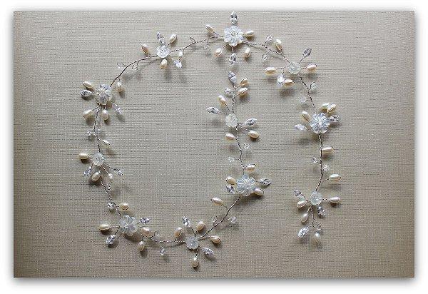 Tiara headband de noiva fio de pérolas madrepérolas