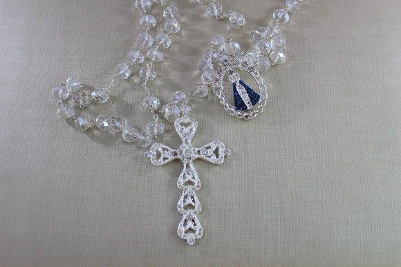 Terço para casamento cristais Aparecida