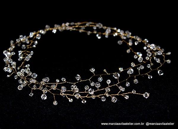 Fio para cabelo de noiva folheado a ouro cristais e strass