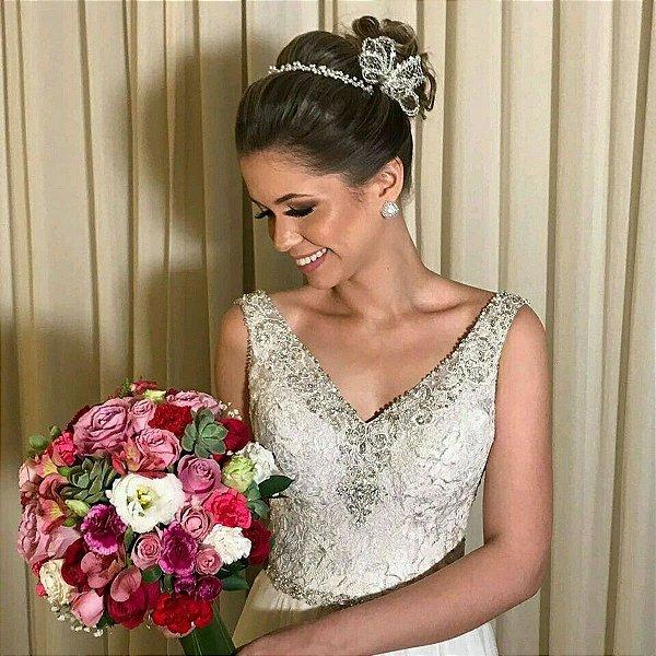 Tiara headband de noiva fio de pérolas com flor