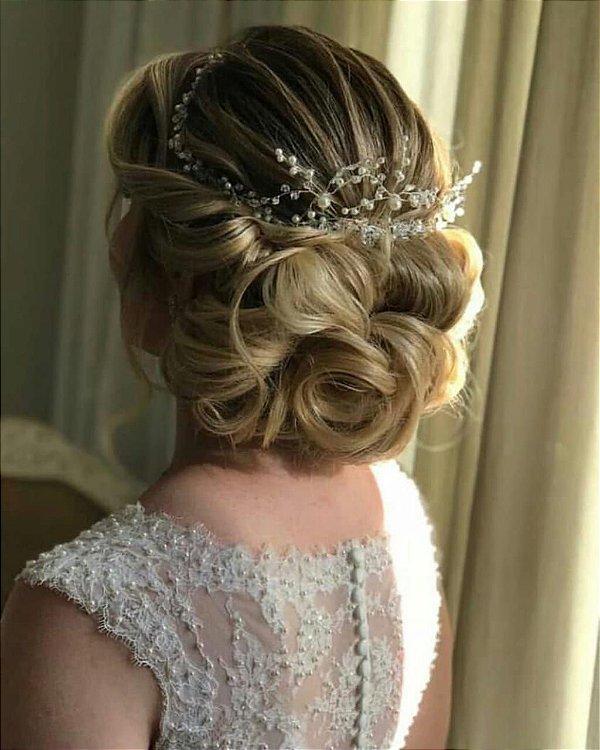 Tiara de noiva e trio de grampos zircônias pérolas e strass