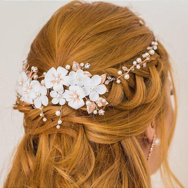 Headband ou tiara de noiva em pérolas flores banho de ouro rose