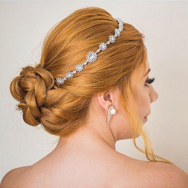 Tiara para noiva com  zircônias banhada em ouro branco