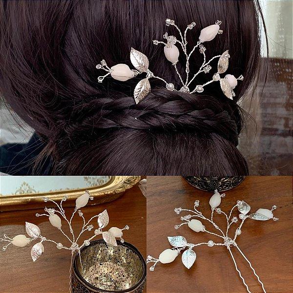 Grampo para noiva mini tulipas folheado a prata