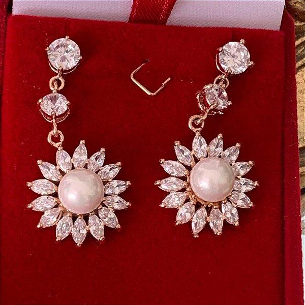 Brincos de pérolas para noiva banhado no ouro rosé